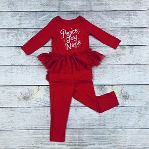 Cat & Jack Girls 12m Red Holiday Ruffle Outfit